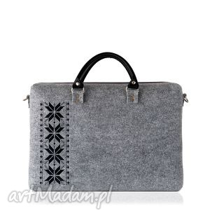 torba filcowa romby czarne, filcowa, laptopowa, haftowana, unisex, modna