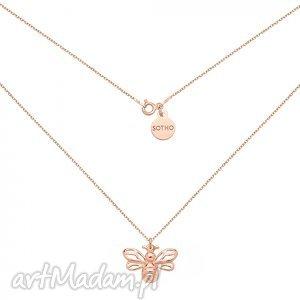 naszyjnik z pszczółką z różowego złota - minimalistyczny
