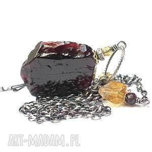 Plaster granatu vol. 5 - naszyjnik, srebro, oksydowane, granat, pozłacane, cytryn