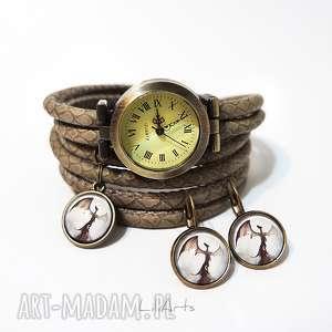 handmade zegarki komplet - smok cienia zegarek i kolczyki antyczny brąz