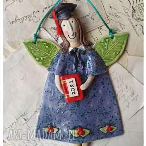 aniołek absolwent, ceramika, anioł, biret, student, książka