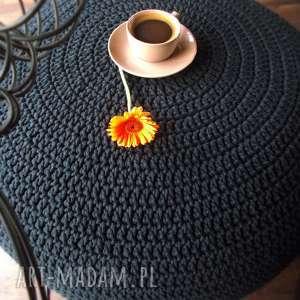 bardzo duża pufa - stolik ze sznurka, pufa, stolik, czarny, sznurek bawełniany