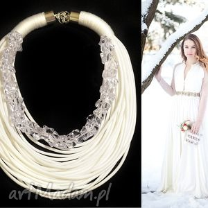 snow bride - ślubny, naszyjnik, kolia, sznurkowy, kryształki, unikatowy