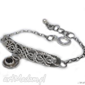 czarny szafir, oryginalna, bransoletka, srebrna, oksydowana