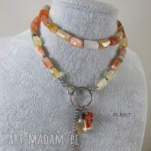 handmade naszyjniki kamień słoneczny, cytryn i karneol - dłuższy naszyjnik