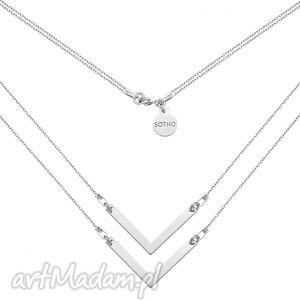 sotho srebrny podwójny naszyjnik z zawieszkami v - srebrne, minimalistyczny