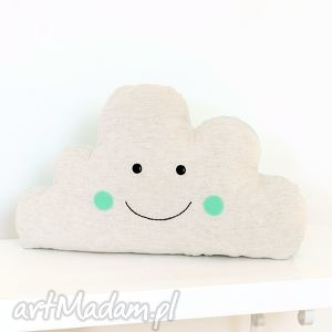 Chmura, chmurka, chmura, poduszka, poducha, uśmiech, miętowy