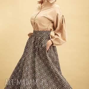 spódnica midi wzór brle, midi, bawełna, wzór, rozkloszowana, kobieta, kieszenie