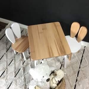 pokoik dziecka stolik i krzesełko królik biało naturalny, meble dziecięce