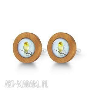 Żółty ptaszek - drewniane spinki do mankietów liliarts mankietów
