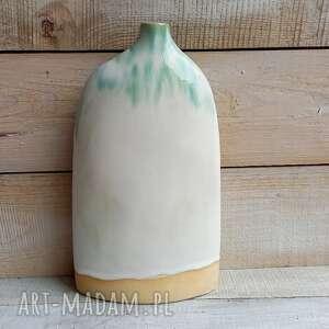 seledynowo-biały wazon ceramiczny ręcznie wykonany, ceramiczny