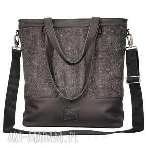 duża czarna torba z matowej skóry z tkaniną - torba, torebka
