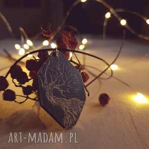 Drewniany wisior grawerowany, moonlight minimalist art, drzewo, las, noc, etniczny