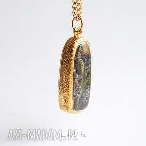 prawdziwa lawenda - naszyjnik, kolor złoty, medalion, naturalny