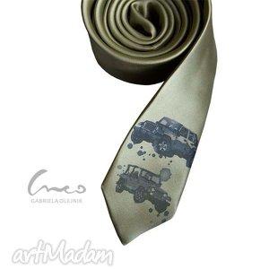 krawaty krawat z nadrukiem - jeep, krawat, krawaty, nadruk, śledzik, zielony