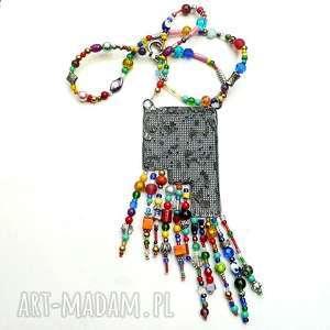 ręcznie zrobione naszyjniki boho. dla miłośniczki stylu boho, naszyjnik bajecznie kolorowy, hand made