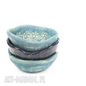 Komplet 3 ceramicznych miseczek, biała glina kamionkowa (wypalane w temperaturze