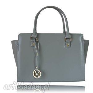 ręczne wykonanie torebki sztywna torebka kuferek trapez siwy ciemny