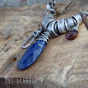 lapis lazuli,granat - naszyjnik, lazuli, granat, srebro oksydowane, krótki