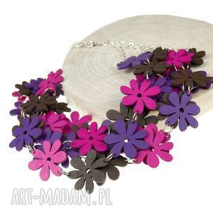 Prezent Naszyjnik z kolorowych drewnianych kwiatów c483c, drewniane-korale