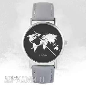 Zegarek - mapa świata szary, skórzany zegarki liliarts zegarek