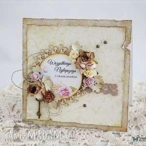 Kartka urodzinowa w stylu vintage - ,kartka,urodzinowa,vintage,retro,scrapbooking,