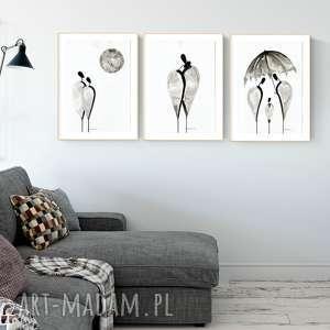 Zestaw 3 grafik 30x40 cm art krystyna siwek obrazy ręcznie