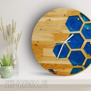 handmade zegary zegar ścienny z drewna dębowego, żywica, sześcian