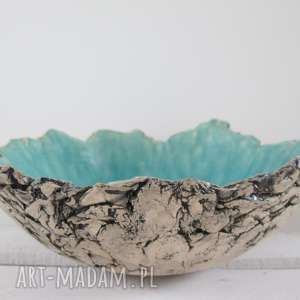 Sardynia artystyczna misa, miska, ceramiczna, turkusowa, jak-skała, dekoracyjna