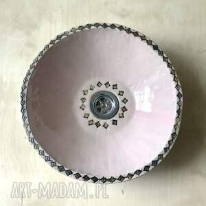ceramika ceramiczna różowa umywalka, handmade, polska