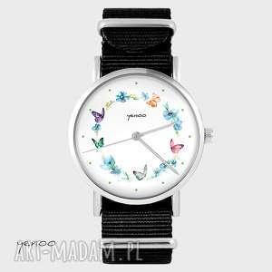 zegarek - kolorowy wianek czarny, nato, zegarek, bransoletka
