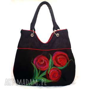 na ramię filcowane czerwone kwiaty, torebka, damska, filcowana, kaiwty