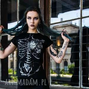 Damska czarna koszulka ze szkieletem Szkielet Puszczy, halloween, czarna-koszulka