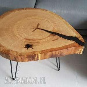 stolik kawowy, plaster drewna - dąb, żywica, stolikkawowy, stolikdębowy