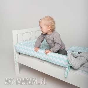 Ochraniacz do łóżeczka/łóżka IKEA - miętowe zygzaki, ochraniacz, minky, ikea, pościel