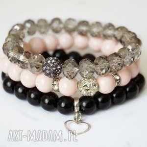 Set crystals, nude & real silver heart - ,zawieszka,serce,serduszko,cyrkonie,marmury,
