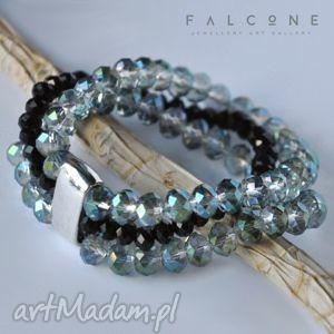 black erenite, bransoleta, szeroka, potrójna, klamra, błyszcząca, elegancka