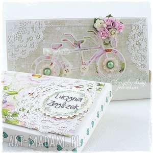scrapbooking kartki tandem slubny w pudełku, ślub, rower, tandem, pudełko