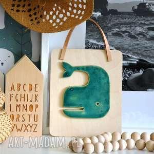 Ceramiczny wieloryb dekoracje wooden love ryba, morze, wieloryb