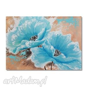 Błękitne maki, nowoczesny obraz ręcznie malowany, kwiaty,
