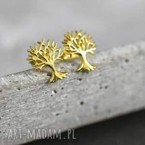 """Prezent 925 Pozłacane mini kolczyki """"Drzewo życia"""", drzewo, życia, pozłacane, srebro"""
