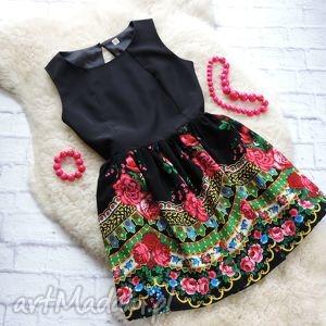 Czarna sukienka z góralskim wzorem CLEO folk, sukienka, góralska, cleo, ludowa