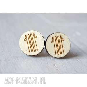 handmade spinki do mankietów drewniane narty
