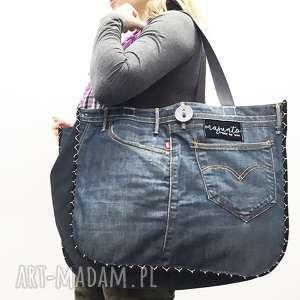 hand-made na ramię duża torba upcykling jeans 24 levi strauss