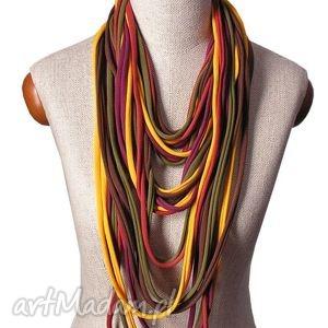 naszyjnik dzianinowy kolory jesieni - kobiecy, modny, uniwersalny