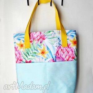 Tropikalna torba z uszami, torba, na, ramię, tropikalna, niebieska