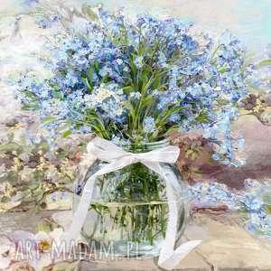 obrazy kwiaty na płótnie niezapominajki w słoju 70 x cm, obraz romantyczny