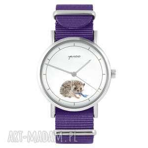 zegarki zegarek - jeżyk fioletowy, nylonowy, zegarek, nylonowy pasek, typ
