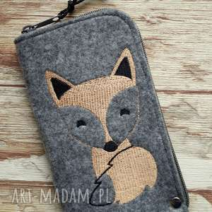 filcowe etui na telefon - lisek, smartfon, pokrowiec, haft, fox, koraliki, prezent