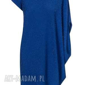 sukienka asymetryczna kobaltowa plus size - dzianina, asymetryczna, błyszcząca
